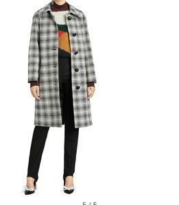 NWT Burberry Walkden Check Wool Coat Size 10